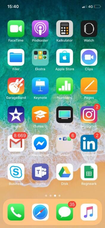 Heidi Avens mobilskjerm.