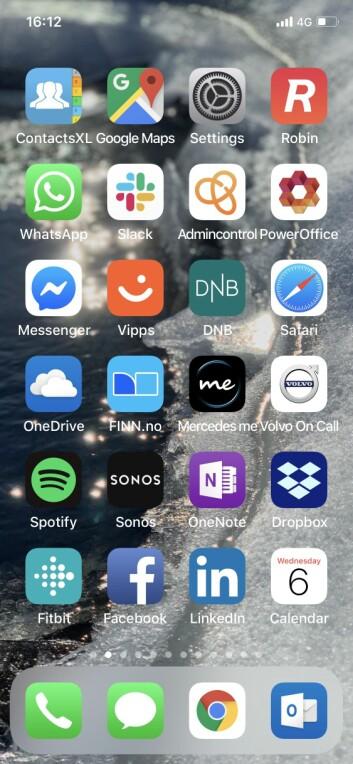 Mobilskjermen til Atle Sivertsen.
