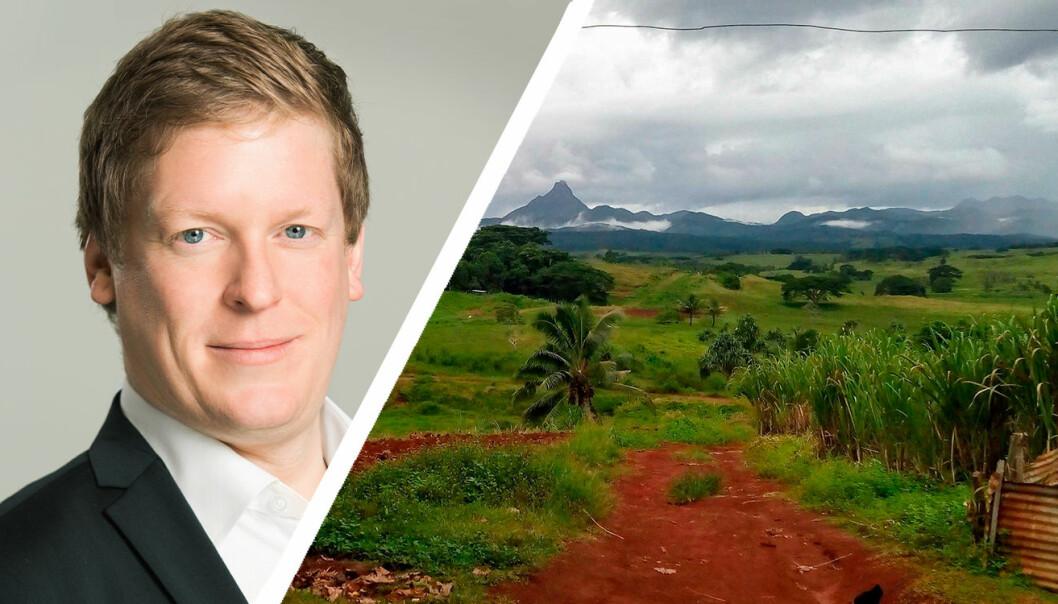 Til venste: Anders Gundersen, Sensonomic-gründer. Til høyre: Fra selskapets Fiji-ekspedisjon i forbindelse med deres nyeste prosjekt. Foto: Privat