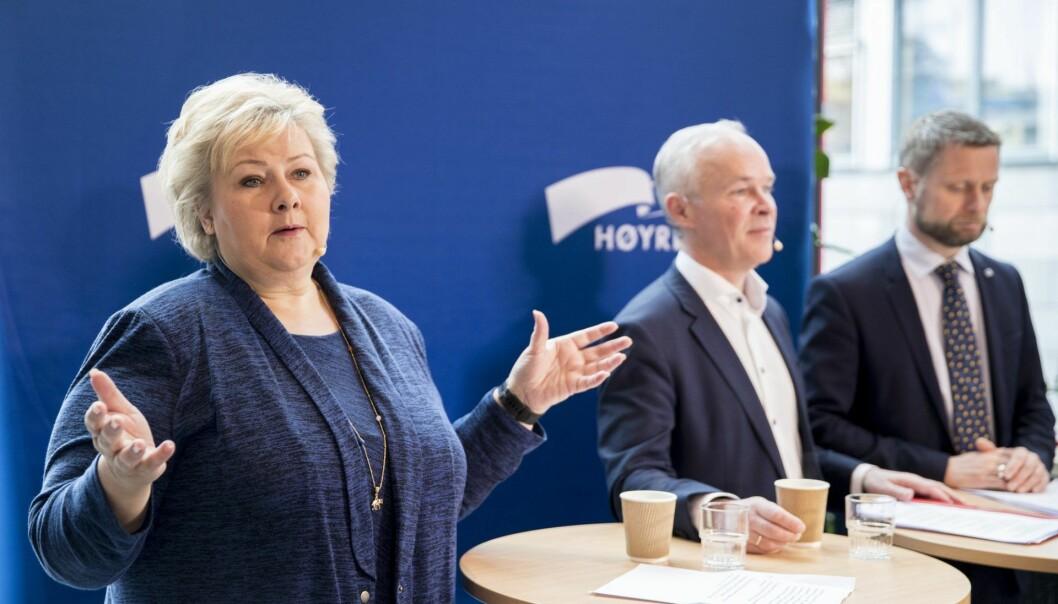 Pressefrokost om Høyres landsmøte Høyres leder og statsminister Erna Solberg, nestlederne Jan Tore Sanner og Bent Høie er tilstede. Foto: Vidar Ruud / NTB scanpix