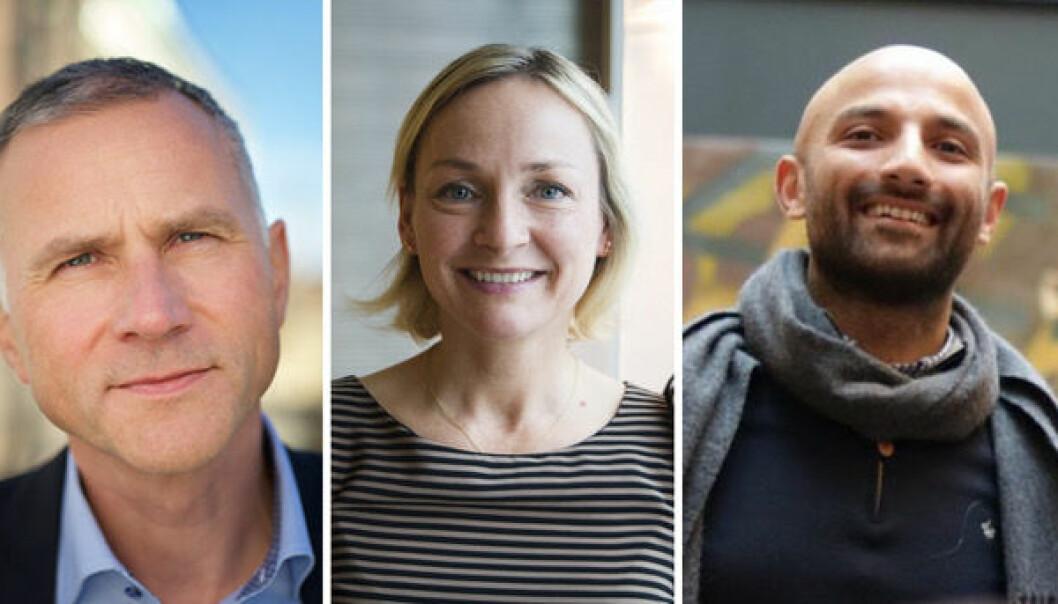 Tom Staavi, informasjonsdirektør i Finans Norge, Liv Freihow, direktør for næringspolitikk i IKT Norge og Israr Khan, CDO og med-gründer i Aprila Bank.