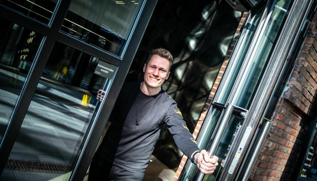 Unloc-gründer Kris Riise uten for selskapets kontorer på Arkwright X i Oslo. Foto: Vilde Mebust Erichsen