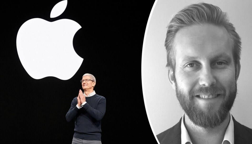 Tim Coock, CEO i Apple og Jørgen Helland, strategidirektør i Scandinavian Design Group. Foto: Schibsted/Apple