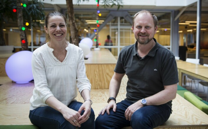 CEO Heidi Frost Eriksen og CTO Gunnar Bergersen i Technebies holder til på StartupLab i Oslo. Foto: Per-Ivar Nikolaisen