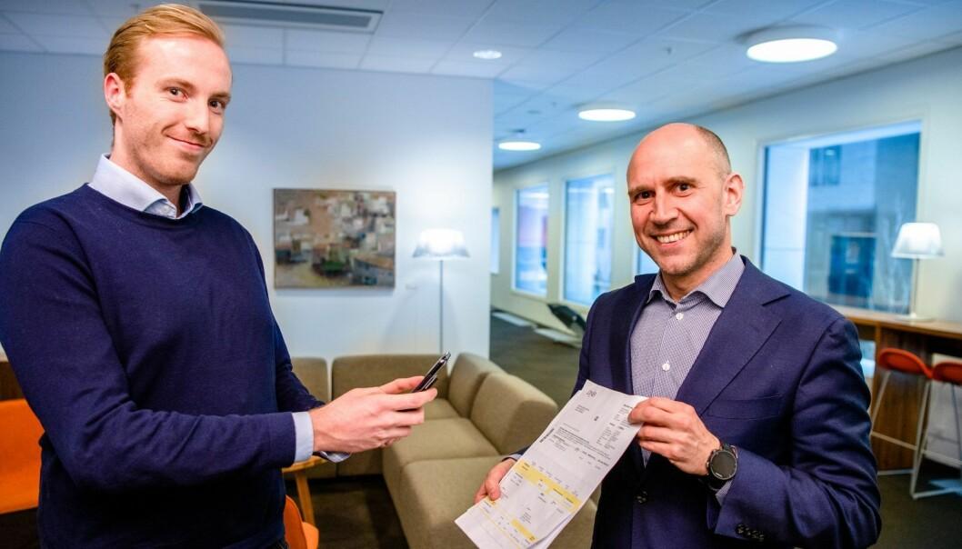 Lucidtech ved Ståle Zerener Haugnæss og DNB's leder for digital utvikling, Øyvind Brekke Westby. Foto: DNB