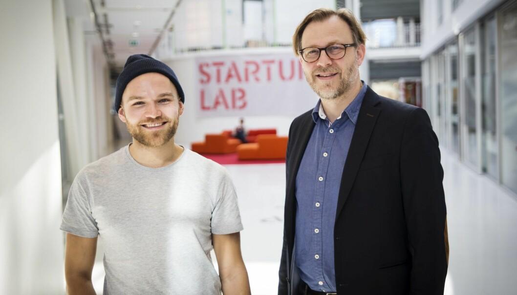 Kjetil Holmefjord i StartupLab og Stig Nordal hos advokatene Sands. Foto: Per-Ivar Nikolaisen