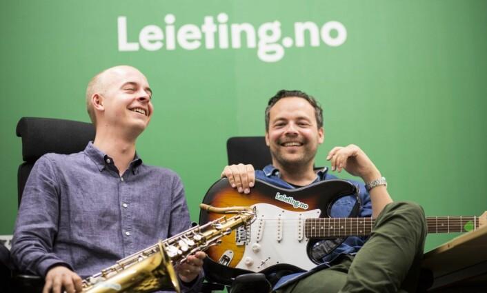 Christer Hansen Eriksen og Bjørn Reidar Ur i Leieting.no, etter at de hadde hentet inn en runde i 2016. Foto: Per-Ivar Nikolaisen