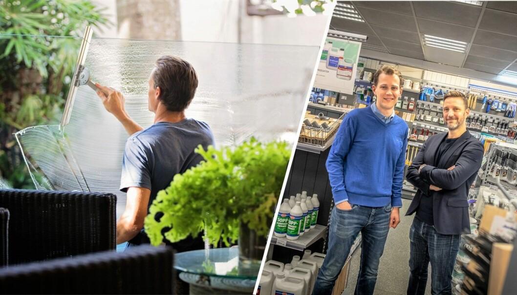 Illustrasjonsfoto (til venstre). Edvard Eikeland, styreleder i Luado og daglig leder Jarle Naustvik, fotografert i forbindelse med selskapets Jernia-samarbeid. Foto: Vilde Mebust Erichsen