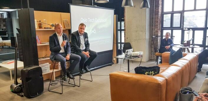 Sjef for ventureinvesteringer i det statlige danske Vækstfonden, Mikkel Hesselgren (til venstre). Foto: Magnus Peter Harnes.