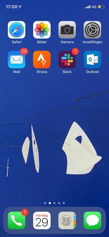 Anne Lise Waals mobilskjerm.