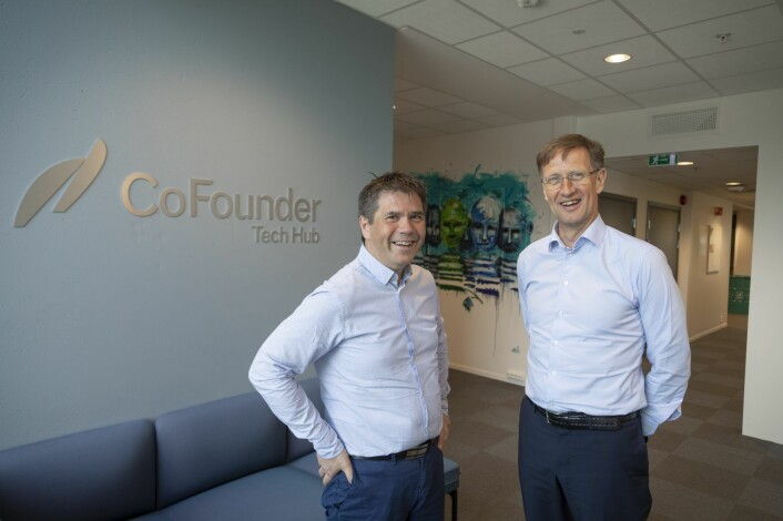 CoFounder and KLP have established an investment fund of €7.5m directed at growing tech companies. Chairman Jan Biti of CoFounder (left) and Corporate Director Aage Schaanning for economy and finance at KLP. Photo: Thor Nielsen/CoFounder