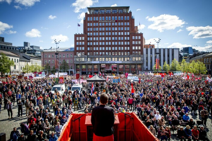 May 1st demonstrations at Youngstorget in Oslo. Photo: Erlend Aas / NTB scanpix