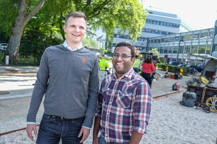 Ditio-gründer Jacob Christian Døskeland og utvikler Dinesh Ram. Foto: Vilde Mebust Erichsen