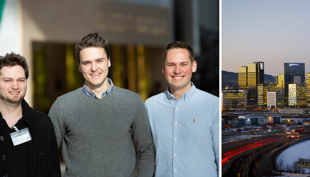 Fra venstre: Jon Nordby, Ole Johan Aspestrand Bjerke og Erik Sjølund i Soundsensing (tidligere ION). Foto: Privat / Heiko Junge / NTB scanpix