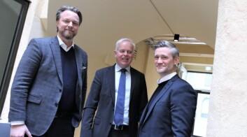 Jarle Holm, CEO i Monner. Tor Kristian Haugland, kommunikasjonsdirektør i Sparebank 1, SR-Bank og David Baum, CEO av FinStart Nordic. Arkivfoto: Lucas Weldeghebriel