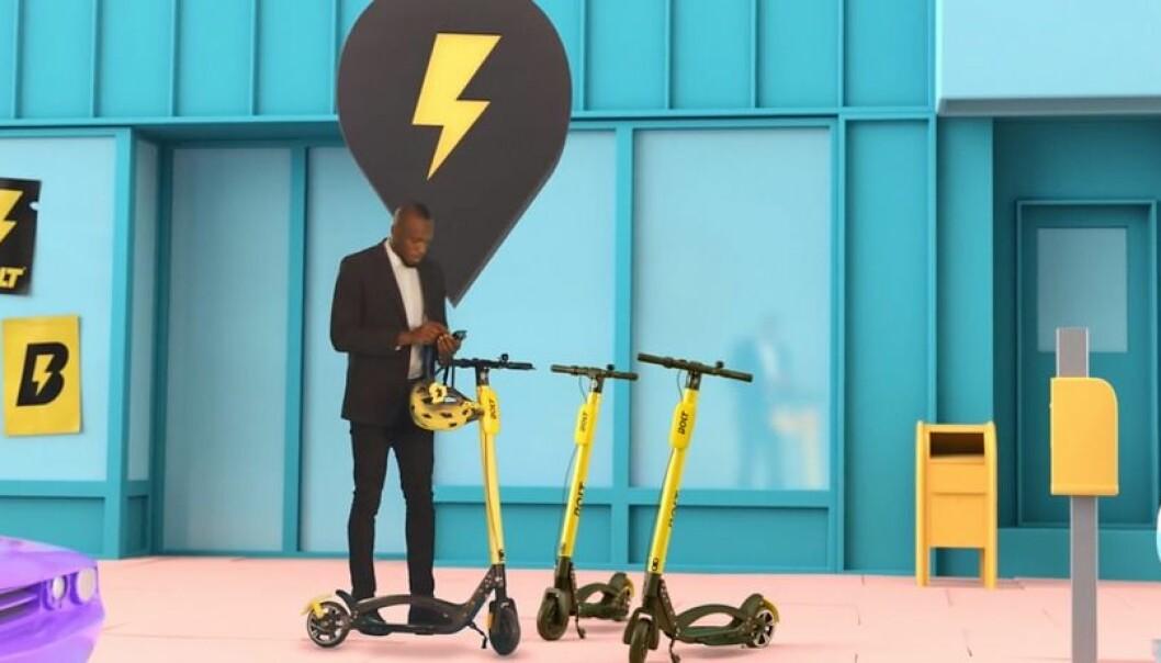 Usain Bolt er hovedinvestor og ansikt utad for El-sparkesyklene Bolt. Foto: Bolt Mobility