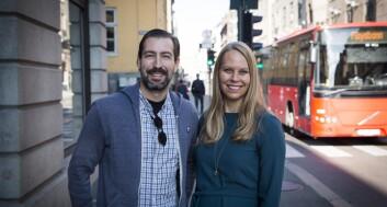 CMO Sean Percival og CEO Ingrid Ødegaard i Appear.in. Foto: Per-Ivar Nikolaisen