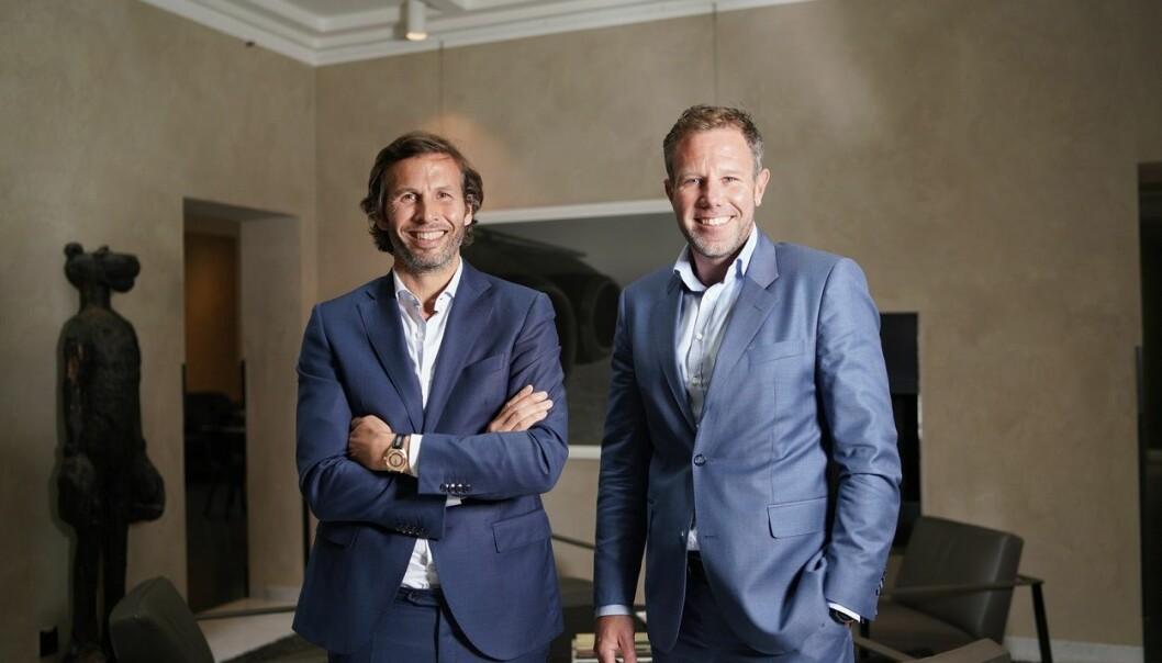Fredrik Dokk Nygaard (43) blir ny administrerende direktør i Møller-familiens investeringsselskap Katalysator. Her med Øyvind Schage Førde (tv), styreleder i Aars og representant for eierne av Katalysator. Foto: Presse