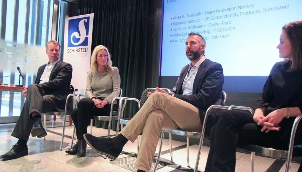 Johan H. Andresen, Edoardo Jacucci, Anita K. Traaseth og Rikke Eckhoff Høvding møttes til en paneldebatt rundt vilkårene for oppstartsselskaper i Norge.