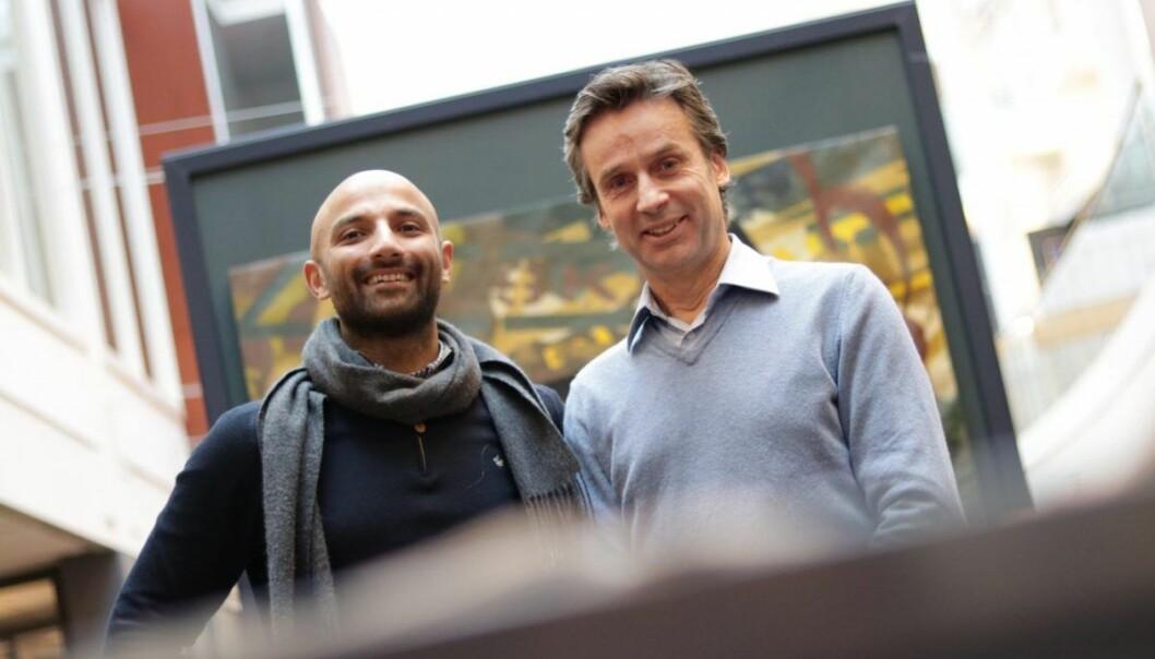 Israr Khan (CDO/CTO) og Per Christian Goller (gründer og Vektsdirektør) i Aprila Bank. Arkivfoto: Lucas Weldeghebriel