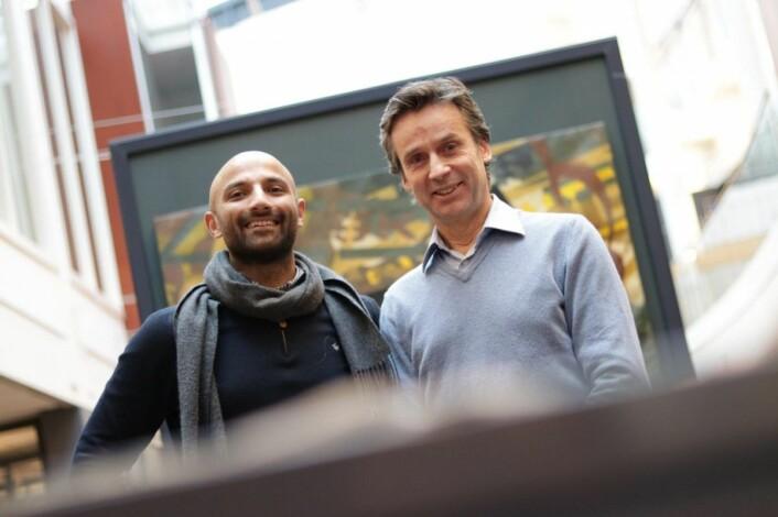 Israr Khan (CDO/CTO) og Per Christian Goller (gründer og nåværende daglig leder) i Aprila Bank. Arkivfoto: Lucas Weldeghebriel