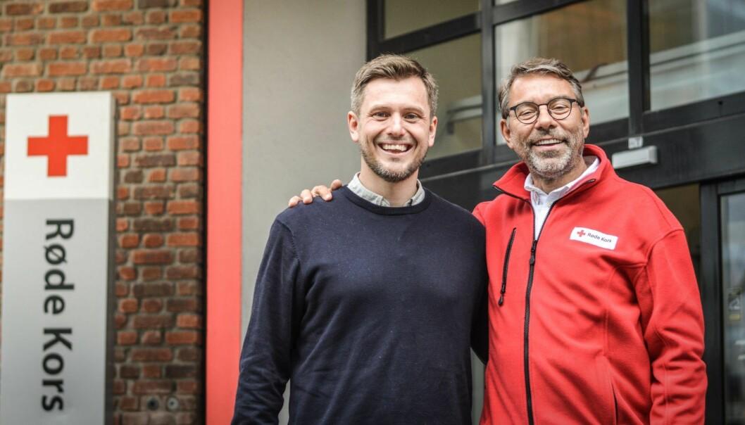 Spiff-gründer Carl-Nicolai Wessmann og Ståle Lindbo i Røde Kors. Foto: Spiff