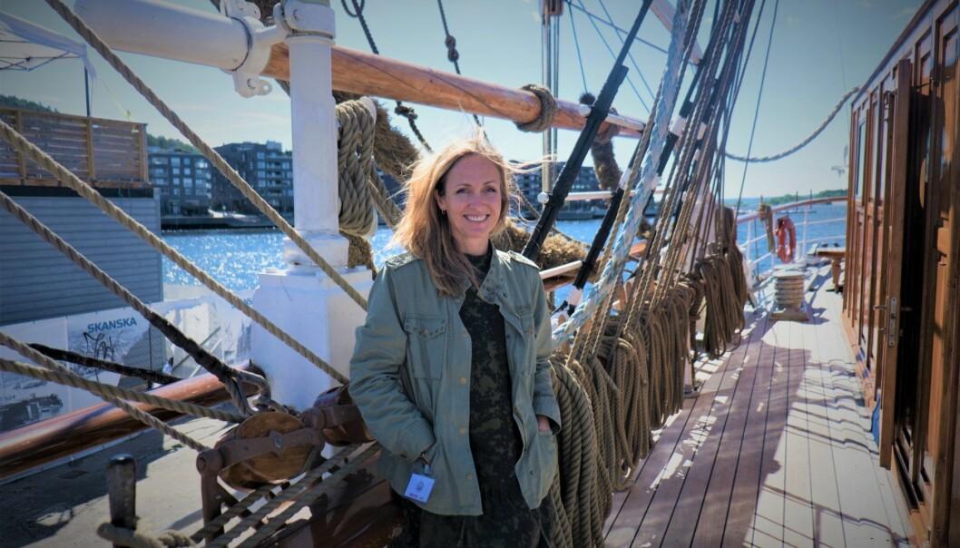Daglig leder i Attensi, Anne Lise Wahl, besøkte Shifter ombord på Christian Radich for å fortelle om nærheten til ansatte, og voksesmerter. Foto: Torill Henriksen
