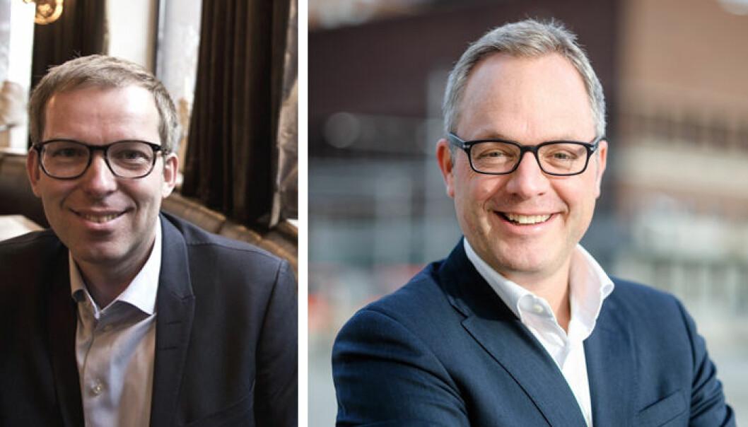 Håkon Haugli (t.v.) blir erstattet av Høyre-politiker Øystein Eriksen Søreide, som tiltrer stillingen som adm. dir. i Abelia 1. oktober.  Foto:  Presse