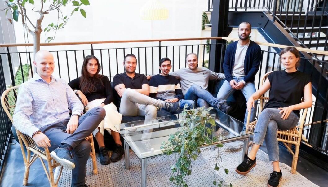 Teamet i PreppK. Fra høyre: Kaja Krakowian, Designer, Amin Fard, Co-founder og CEO. Reza Shamshirgaran, Co-founder og CTO, Piyush Thacker, utvikler, Amir Yazdanshenas, utvikler, Hanne Olsen Solem, COO, Joachim Hagene, Forretningsutvikler. Foto: Prepp