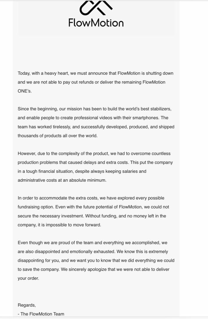 Denne mailen gikk ut til alle Flowmotion-kunder som ikke ennå har mottatt produktet.