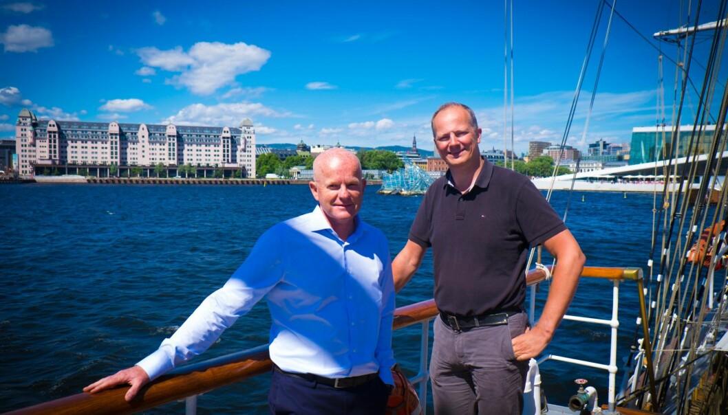 Harald Jellum får med seg Ketil Solvik-Olsen i Aispots nye Advisory Board. De møtte Shifter på Sommerbåten for å fortelle om planene videre. Foto: Torill Henriksen