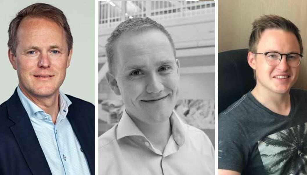 Øyvind Fries i Folkeinvest, Geir Atle Bore i Norsk Crowdfunding Forening og Anders Ottesen i Pineleaf Studio