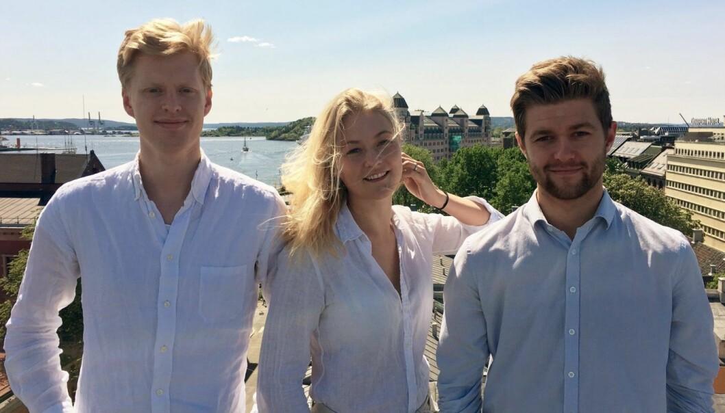 SPACEAPP: De kaller seg Airbnb for parkeringsplasser og har kalrt å overbevise en parkeringsmilliardær.(Fra venstre: Sigurd Høystad, Camilla Sommerfelt, Mats Kristiansen