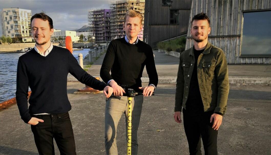 Umiigo vil hjelpe turistene i Stavanger, men møter motstand fra kommunen. FV: Henrik Berge Syvaldsen, Morten Askeland og Per Christian Bjerke. Foto: Umiigo