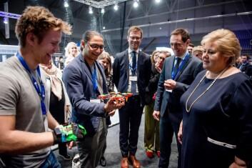 Arveng Technologies møtte Erna Solberg i fjor. Foto: Gorm K. Gare