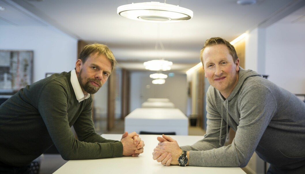 Startup-fabrikken New & Company er blitt en viktig aktør i tech-sektoren i Bergen, og har prosjekter både innen mobilitet, renovasjon, regnskap, m.m. Her med Anders Waage Nilsen og Hans Kristian Aas (t.h.). Foto: Per-Ivar Nikolaisen