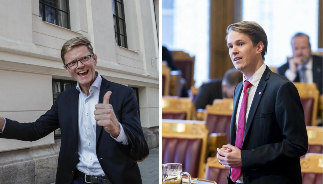 2. nestleder i Venstre, Terje Breivik (t.v.) og Arbeiderpartiets Torstein Tvedt Solberg har svært ulik oppfatning av Kapitalfunn - men begge mener ordningen bør utvides. Foto: NTB Scanpix