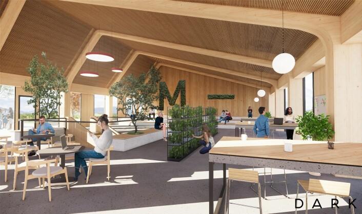 Den nye gründerhuben i Drammen åpner i 2021, i et bygg av heltre. Ill: Dark