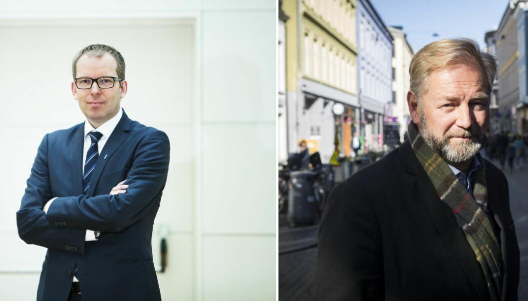 Adm. dir. Håkon Haugli i Innovasjon Norge mener det er lurt å plassere såkornfondene under Investinors ledelse, her ved styreleder Thomas Falck. Foto: Heidi Widerøe/Thomas Falck