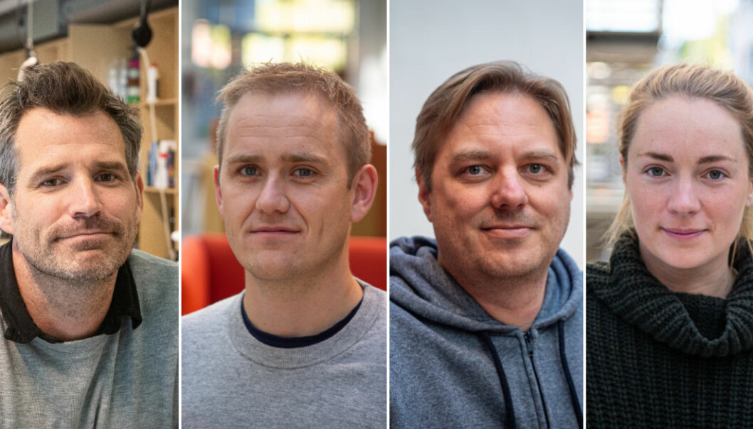 StartupLab-sjef Alexander Woxen, daglig leder i Fundingpartner Geir Atle Bore, Auk-gründer Marius Aabel og Wiral-sjef Andrea Holvik Thorson er skuffet over budsjettforslaget. Foto: Per-Ivar Nikolaisen