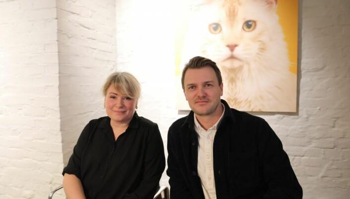 Cathrine Movold i Finstart Nordic og Mathias Hovet i Heydays, under en innspilling av en episode til Shifters podcast. Foto: Lucas Weldeghebriel