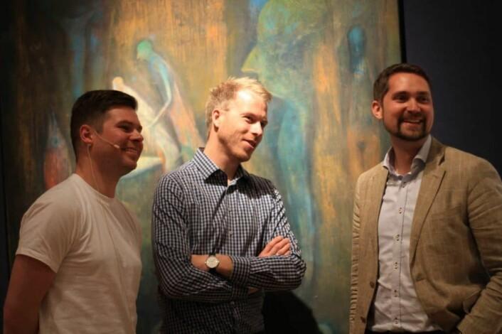 Gründerstjerner: Kjartan Slette (tv) i Unacast, Patrik Berglund, CEO i Xeneta og Karl Munthe-Kaas i Kolonial.no er alle under 40, driver selskap som er få år gamle, som alle er verdisatt til flere hundre millioner kroner.
