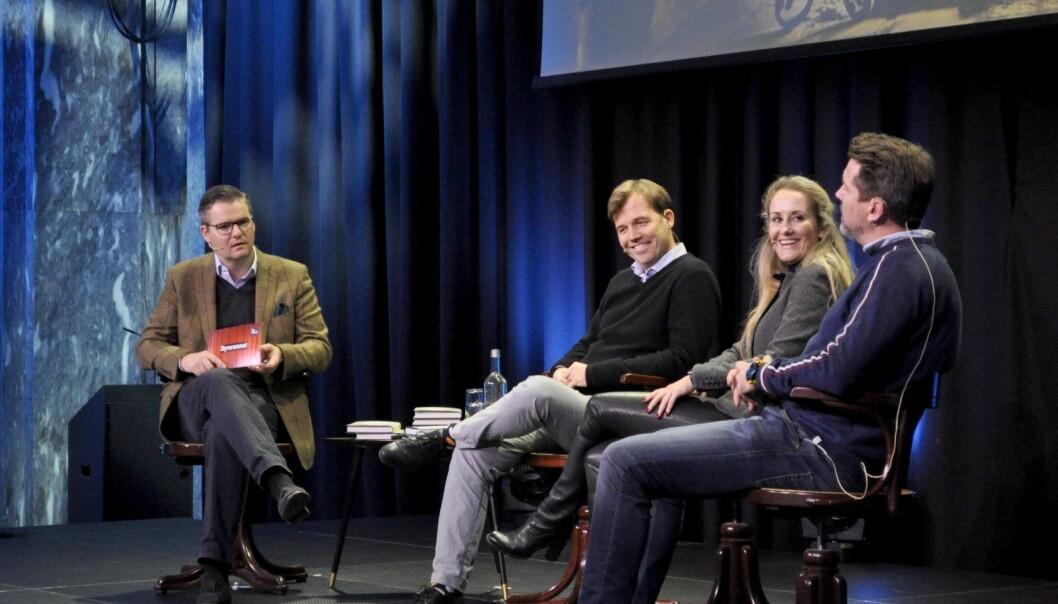 CEO i TheFactory Ingar Bentsen var ordstyrer under paneldebatten om gründerstyret med Pål T Næss, Vibeke Fængsrud og Axel Bentsen. Foto: Torill Henriksen