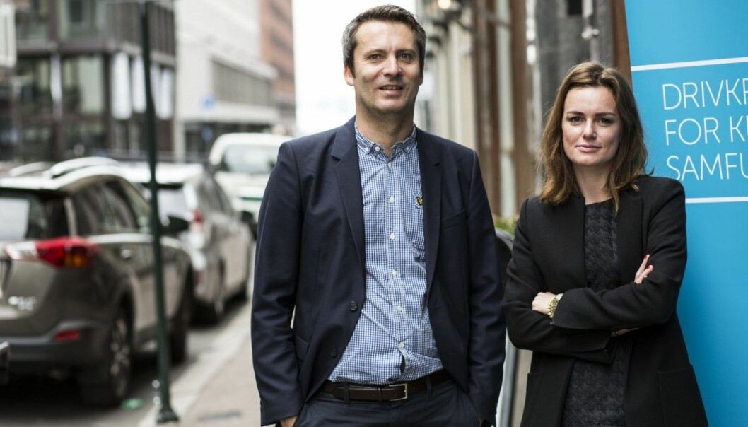 Daniel Ras-Vidal i Abelia og Rikke Eckhoff Høvding i Norsk Venturekapitalforening. Foto: Per-Ivar Nikolaisen