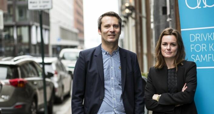 Daniel Ras-Vidal i Abelia og Rikke Eckhoff Høvding i Norsk Venturekapitalforening var drivkrefter bak å få på plass skatteinsentiver for investeringer i oppstartsbedrifter. Her sammen under en rapportfremlegging om det. Foto: Per-Ivar Nikolaisen