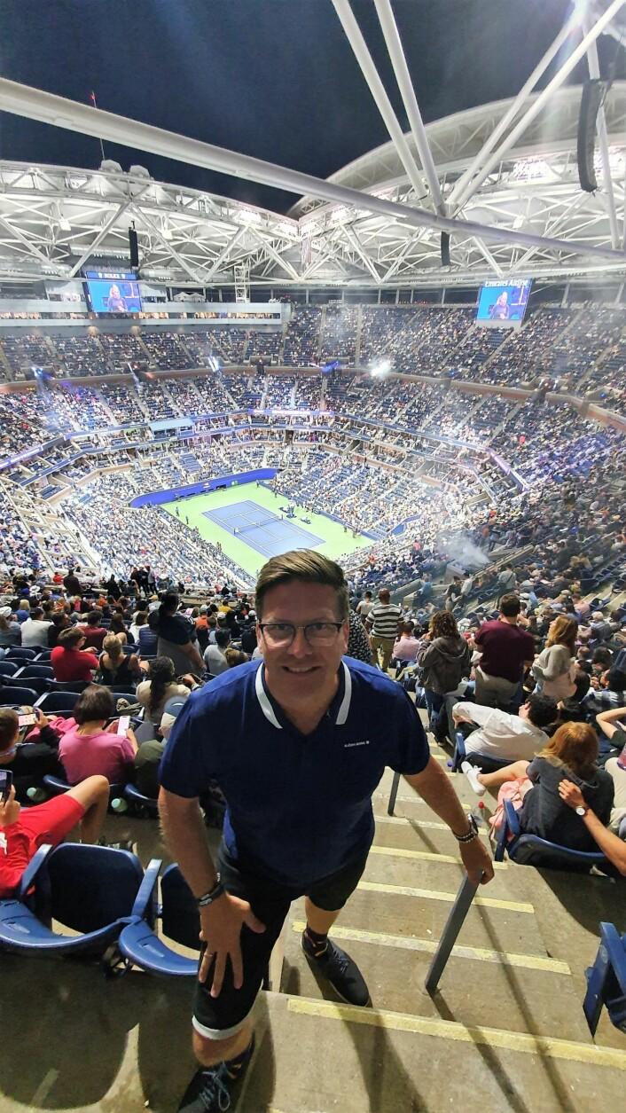 Gründer og daglig leder i SevenSix, Trond Kittelsen, besøkte US Open i sommer. Foto: Privat