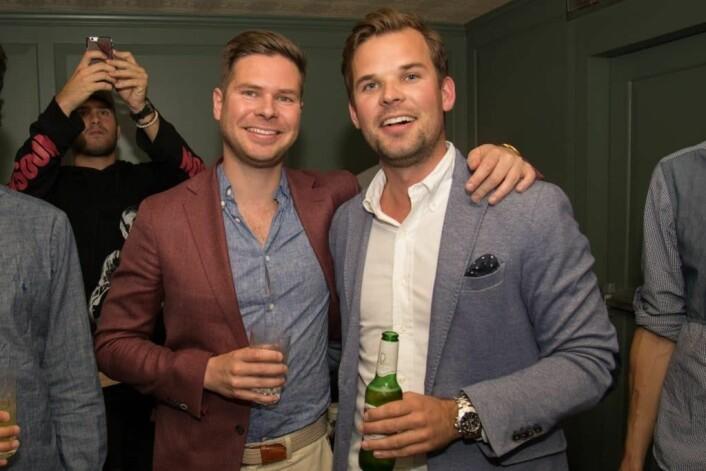 Kjartan Slette (t.v) og Thomas Walle under lanseringsfesten deres i New York,