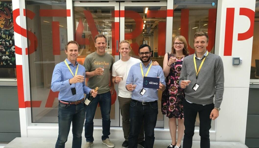 TEAMET: Her er Skiwos utvidede team hos StartupLab. Fra venstre: Jørn Mikalsen, Rolf Assev, Rodney Boot, Gautam Chandna, Tuulia Kankaanpää og Pål Kopperud. Foto: Skiwo.