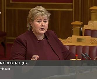 Erna Solberg i Stortingets spørretime om Investinor: – Det virker ikke. Leverer det i henhold til forventningene? Svaret fra evalueringen er nei.