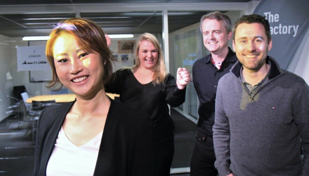 MINVOICE: (f.v) Sonni Christine Jakobsen (CEO), Kjersti Regine Westeng (CCO), Erik vasaasen (CFO), Stian Strandem (CTO). FOTO: Lucas Weldeghebriel
